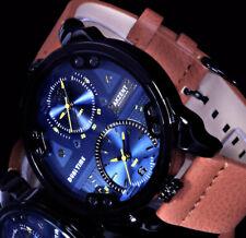 Akzent XL Herren Leder Armband Uhr 48 mm Schwarz Anthrazit-Blau Braun Dualtimer