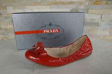 PRADA Gr-37 Bailarinas Zapatilla Bajo Zapatos Cordero Charol zapatos rojo nuevo