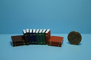 Dollhouse Miniature Small Book Set of 12 Blank Pages and Leather Covers  IM65770