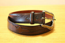 Vintage LUCCHESE Dark Cherry Brown Genuine Leather Belt Size 34 Made in USA