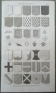 1809 Heraldry Coat of Arms Antique Print Copper Plate Engraving Family History