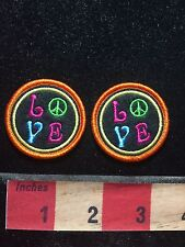 """Little Hippie LOVE Patches With Peace Sign 1 5/8"""" (SAVE MONEY - LOT OF 2) 76X2"""