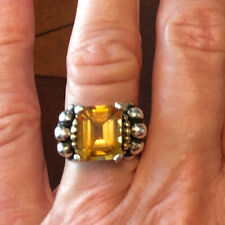Lagos Caviar Citrine 18K Gold Sterling Silver Ring Size 7