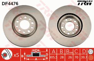 TRW Brake Rotor Pair Front DF4476S fits Alfa Romeo Brera 2.2 JTS (939)
