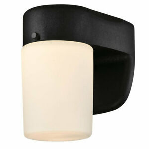 Westinghouse Dimmable LED Outdoor Wall Light Fitting Black with Opal Glass