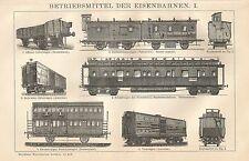 B0101 Mezzi ferroviari - Vagoni - Stampa antica - 1901 Engraving