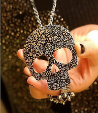 Women Silver Vintage valentine sugar skull Day of the dead Necklace