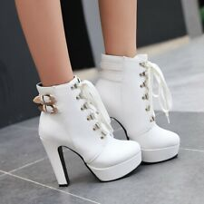 Women's Ankle Boots Round Toe High Heel Platform Lace Ups Motorcyle Gothic Shoes