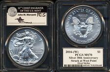 2016 $1 (W) PCGS MS70 FS FIRST STRIKE SILVER EAGLE MERCANTI SIGNATURE 30TH ANN