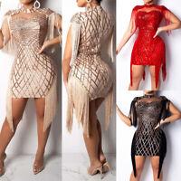 Sexy Women's Tassel Sequin Bodycon Mini Dress Ladies Party Evening Gown Dresses