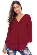 Spitze Detail Button Bis Ärmeln Bluse Damen Shirt Herbst Niedlich Solid