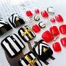 24Pcs Fashion Rivet Short False Fake Artificial Toe Nails Tip Toes Nail Art Tool
