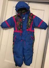 3T boys girls 1990s Ski Slope snowsuit snow suit blue coat pants Detachable hood