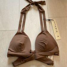 Vitamin A Adriana Wrap Bikini Top Cocoa Brown Size Small BNWT