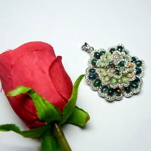 Natural Black & White Opal Gemstone 925 Sterling Silver Women Flower Pendant
