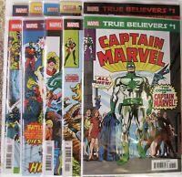 Marvel Comics True Believers Captain Marvel Set of 10 books.