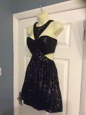 Ladies size 12 cotton club black sequin tutu backless party dress