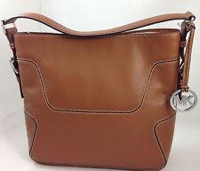 NEW Michael Kors MK Brookville Large Shoulder Bag Purse Hangbag Brown Leather