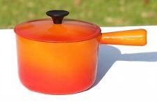 Poêlon orange couleur volcanique et couvercle Cousances vintage
