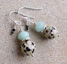 AMAZONITE Dalmation Jasper SPINEL Hill Tribe & SOLID STERLING SILVER Earrings