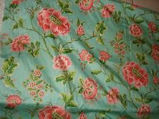 VTG BEAUTIFUL WAVERLY FABRICS YARN SCHUMACHER CO BIJON CURTAIN GREEN PINK FLOWER
