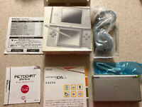 Nintendo DS Lite Gloss Silver/ Gray Console -- Complete in Box -- Tested - CIB