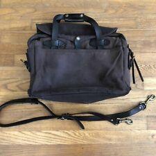 FILSON Seattle Vintage Canvas Leather Travel Briefcase Bag Dark Brown Twill