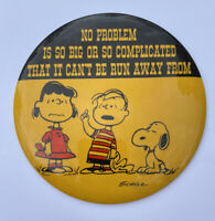 """Vintage Peanuts  Pin 7"""" Charles Schulz, No Problem is Too Big Linus Lucy Snoopy"""