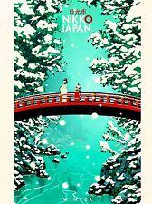 ART PRINT POSTER TRAVEL NIKKO JAPAN WINTER RED BRIDGE SNOW WINTER RIVER NOFL1127
