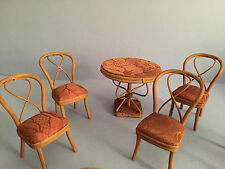 Victorian 19th century doll/ doll house furniture with fabric seats 5pc set