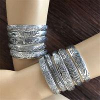 Elephant Tibetan Tibet Silver Totem Bangle Cuff Bracelet Lady Retro Jewelry Fin
