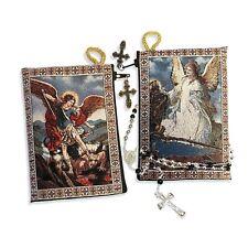 Saint Michael & Guardian Angel Reversible Tapestry Rosary Pouch Keepsake Holder