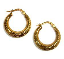 UNOAERRE .750 18ct YELLOW GOLD Filigree Design Creole Hoop Earrings, 1.79g - R30