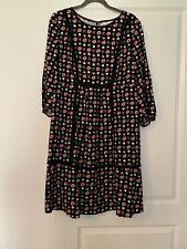 Boden Black Red Leaf Floral Autumnal Dress 16 L BNWT RRP £90