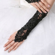Black Lace Long Gloves Stretch Fingerless Madonna Gloves Fancy Wedding Acc