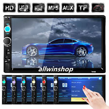 "7"" Double 2 DIN HD Car MP5 MP3 Player Bluetooth Touch Screen Stereo Radio Black"