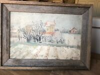 "ORIGINAL 1947 FRENCH LANDSCAPE,""Winter In Normandy"",Signed"