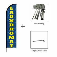 Laundromat Sign Banner Swooper Feather Flag Pole Kit Advertising Display, 15ft
