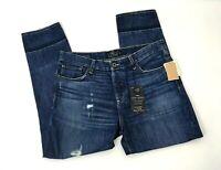 Lucky Brand Womens Sienna Slim Boyfriend Jeans Size 6/28 Dark Blue Distressed