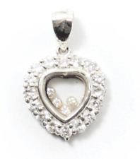 Sterling Silver Heart Floating CZ Halo See Through Pendant 30mm x 19mm