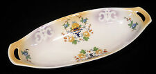 12 in open handle serving dish pale gold pink flowers green leaves Germany