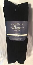 Lot 7 pairs ALL BLACK G.H. Bass Mens size 10-13 dress crew socks SOFT