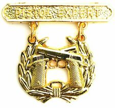 USMC US Marine Corps PISTOL QUALIFICATION EXPERT Shooting Badge Pin Gold Plated
