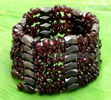SALE 6-8mm Baroque Brown Natural Garnet with Black Hematite 37'' Bracelet-bra365