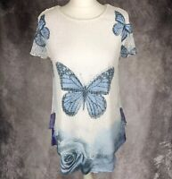 JOE BROWNS White & Blue Butterfly Floral Print Crochet Overlay Top UK Size 10