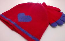 Girls Hat & Glove Set - Pink & Purple - Age 2-5 - Kids Knitted Set - Heart Print