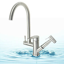 Kitchen Sink Mixer Tap Pull Out Bidet Spray Dual Spout Faucet Brushed Steel UK