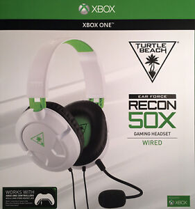 NEW Turtle Beach Recon 50X White/Green Wired Gaming Headset for Microsoft Xbox