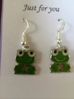 CUTE FROG  ENAMEL DROP DANGLE EARRINGS WITH SILVER PLATED HOOK IN GIFT BAG