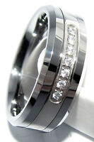 Mens Tungsten Carbide Wedding Ring 7 or 13 CZ Band 8MM - Size 7.5 to 14.5